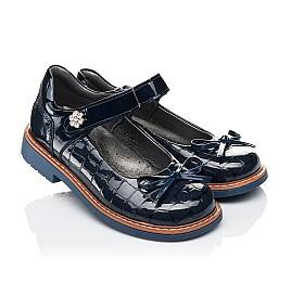 Детские туфли ортопедические Woopy Orthopedic синие для девочек натуральная лаковая кожа размер 28-36 (4110) Фото 1