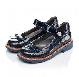 Детские туфли ортопедические Woopy Orthopedic синие для девочек натуральная лаковая кожа размер 28-36 (4110) Фото 3