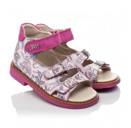 Детские босоножки Woopy Orthopedic розовые для девочек натуральная кожа размер 21-25 (4114) Фото 1