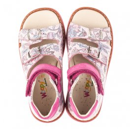 Детские босоножки Woopy Orthopedic розовые для девочек натуральная кожа размер 21-28 (4114) Фото 5