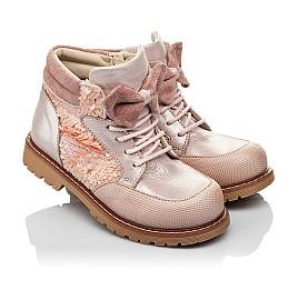 Детские демисезонные ботинки (внутри кожа) Woopy Orthopedic пудровые для девочек натуральный нубук размер 28-34 (4115) Фото 1