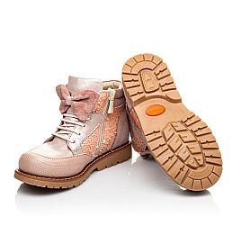 Детские демисезонные ботинки (внутри кожа) Woopy Orthopedic пудровые для девочек натуральный нубук размер 28-34 (4115) Фото 2