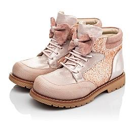 Детские демисезонные ботинки (внутри кожа) Woopy Orthopedic пудровые для девочек натуральный нубук размер 28-34 (4115) Фото 3