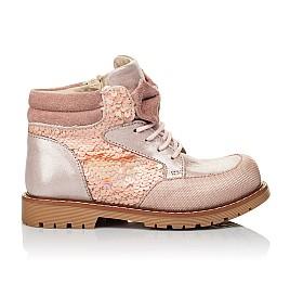Детские демисезонные ботинки (внутри кожа) Woopy Orthopedic пудровые для девочек натуральный нубук размер 28-34 (4115) Фото 4