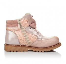 Детские демисезонные ботинки (внутри кожа) Woopy Orthopedic пудровые для девочек натуральный нубук размер 28-34 (4115) Фото 5
