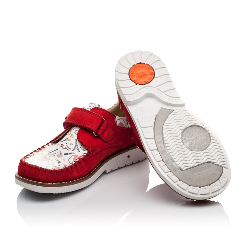 Детские мокасины Woopy Orthopedic красные для девочек натуральная кожа и нубук размер 31-33 (4119) Фото 2