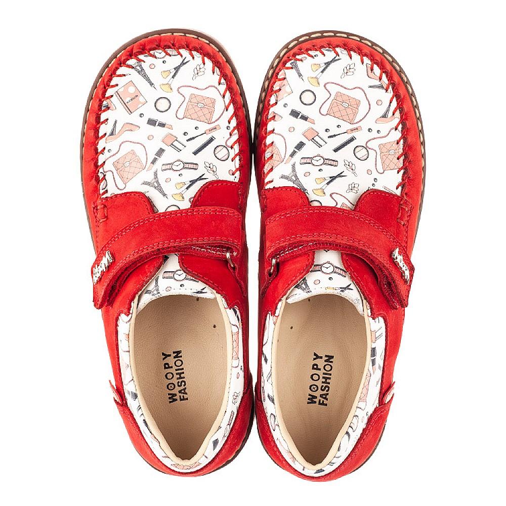 Детские мокасины Woopy Orthopedic красные для девочек натуральная кожа и нубук размер 31-33 (4119) Фото 5