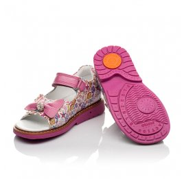 Детские ортопедические босоножки Woopy Orthopedic розовые для девочек натуральная кожа размер 18-30 (4120) Фото 2