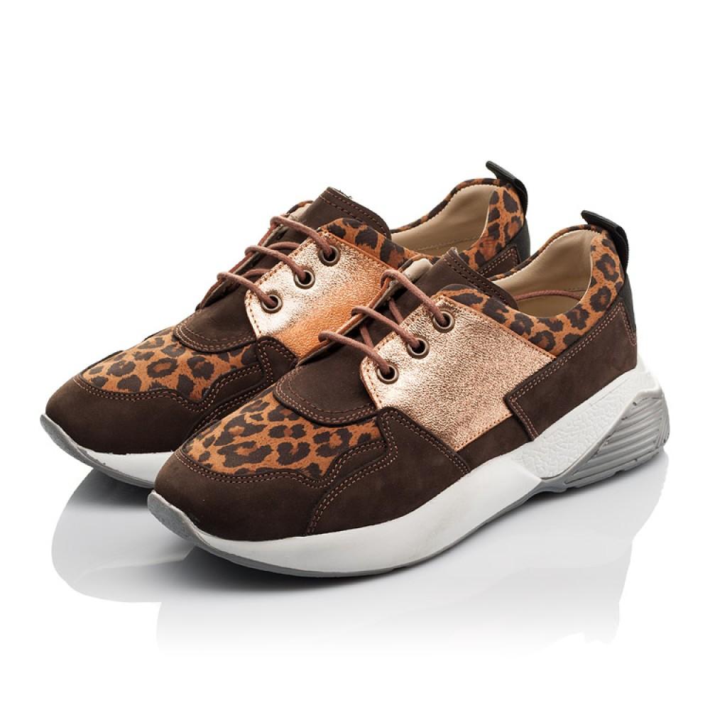 Детские кроссовки Woopy Orthopedic коричневые для девочек натуральный нубук размер 35-39 (4124) Фото 3