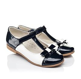 Детские туфли-балетки кожа Woopy Orthopedic темно-синие для девочек натуральная лаковая кожа размер 28-35 (4132) Фото 1