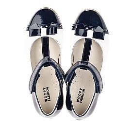 Детские туфли-балетки кожа Woopy Orthopedic темно-синие для девочек натуральная лаковая кожа размер 28-35 (4132) Фото 5