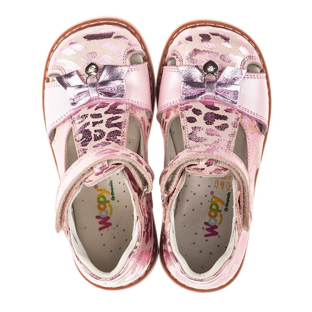 Детские закрытые босоножки Woopy Orthopedic розовые для девочек натуральный нубук размер 18-30 (4134) Фото 5