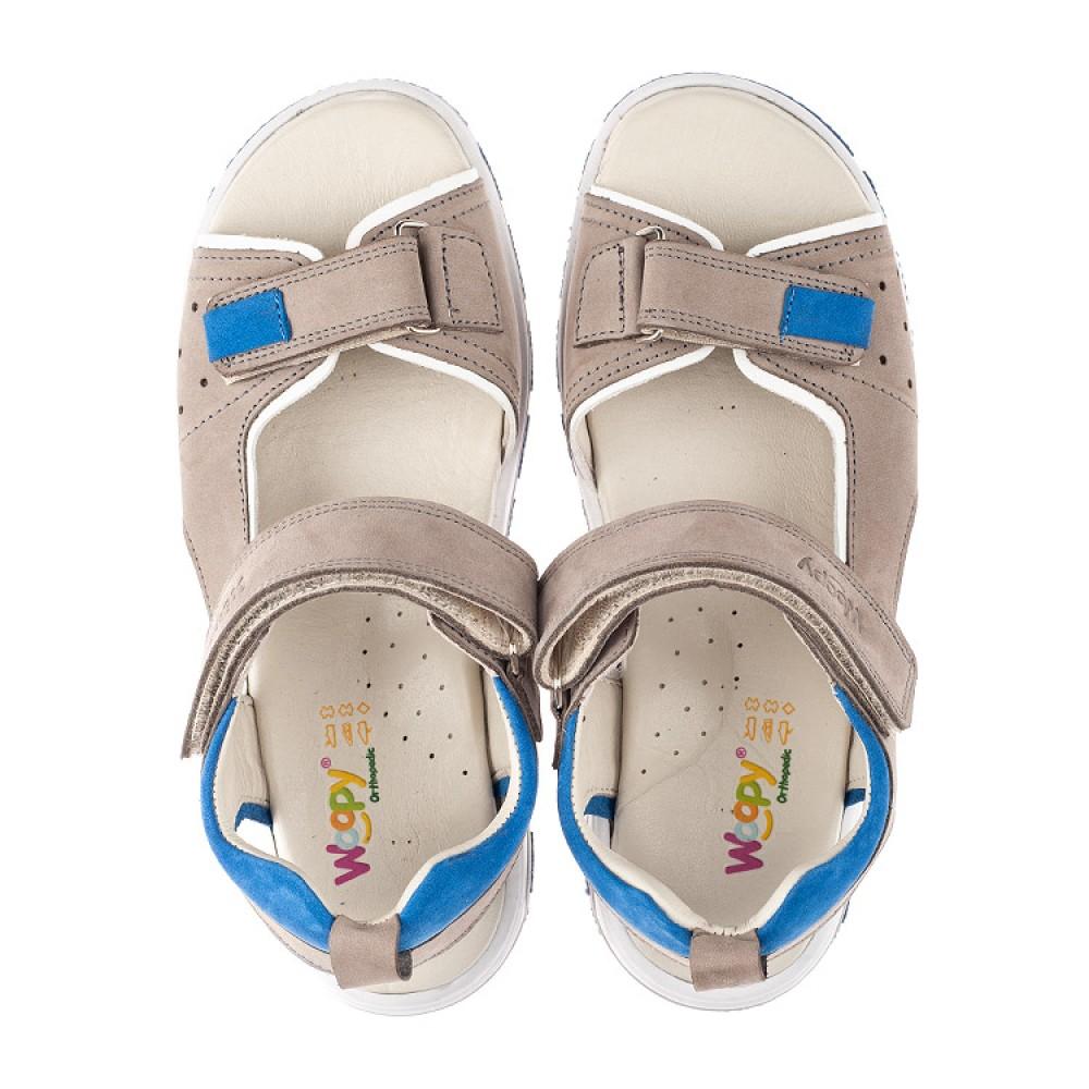Детские босоножки Woopy Orthopedic серые для мальчиков натуральный нубук размер 33-40 (4139) Фото 5