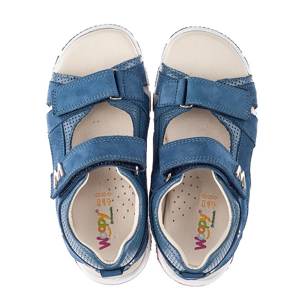 Детские босоножки Woopy Orthopedic голубые для мальчиков натуральный нубук размер 27-40 (4144) Фото 5