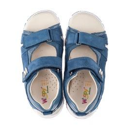 Детские босоножки Woopy Orthopedic голубые для мальчиков натуральный нубук размер 28-39 (4144) Фото 5