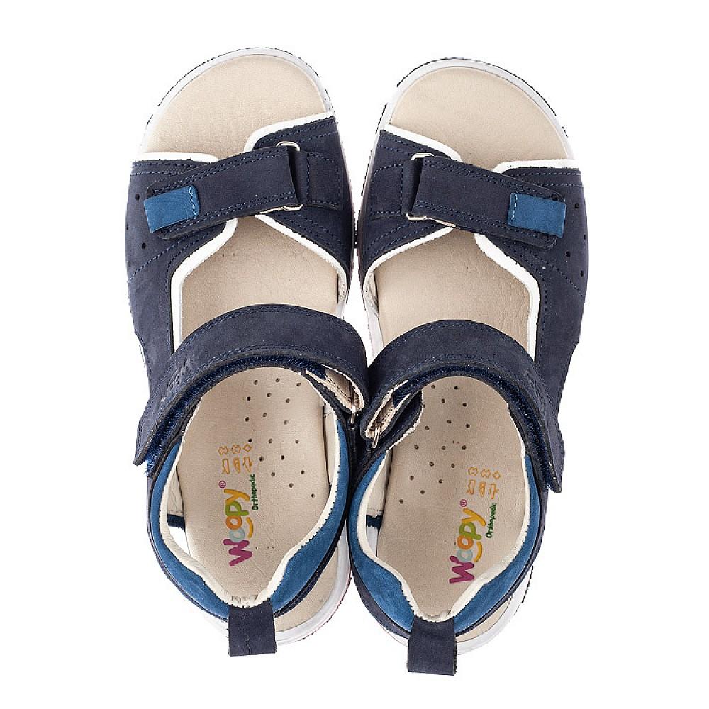 Детские босоножки Woopy Orthopedic синие для мальчиков натуральный нубук размер 33-40 (4146) Фото 5