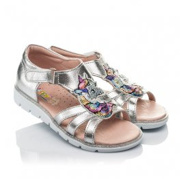 Детские босоножки Woopy Orthopedic серебряные для девочек натуральная кожа размер 26-26 (4152) Фото 1