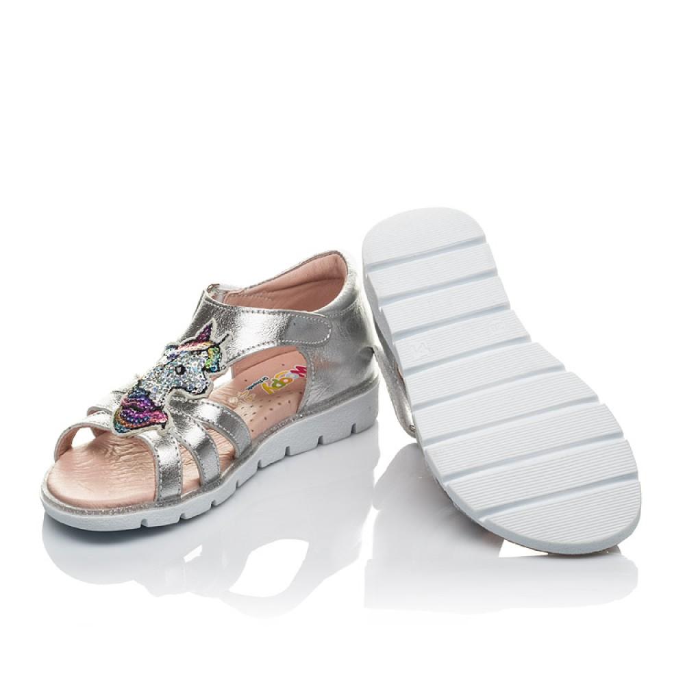 Детские босоножки Woopy Orthopedic серебряные для девочек натуральная кожа размер 25-36 (4152) Фото 2
