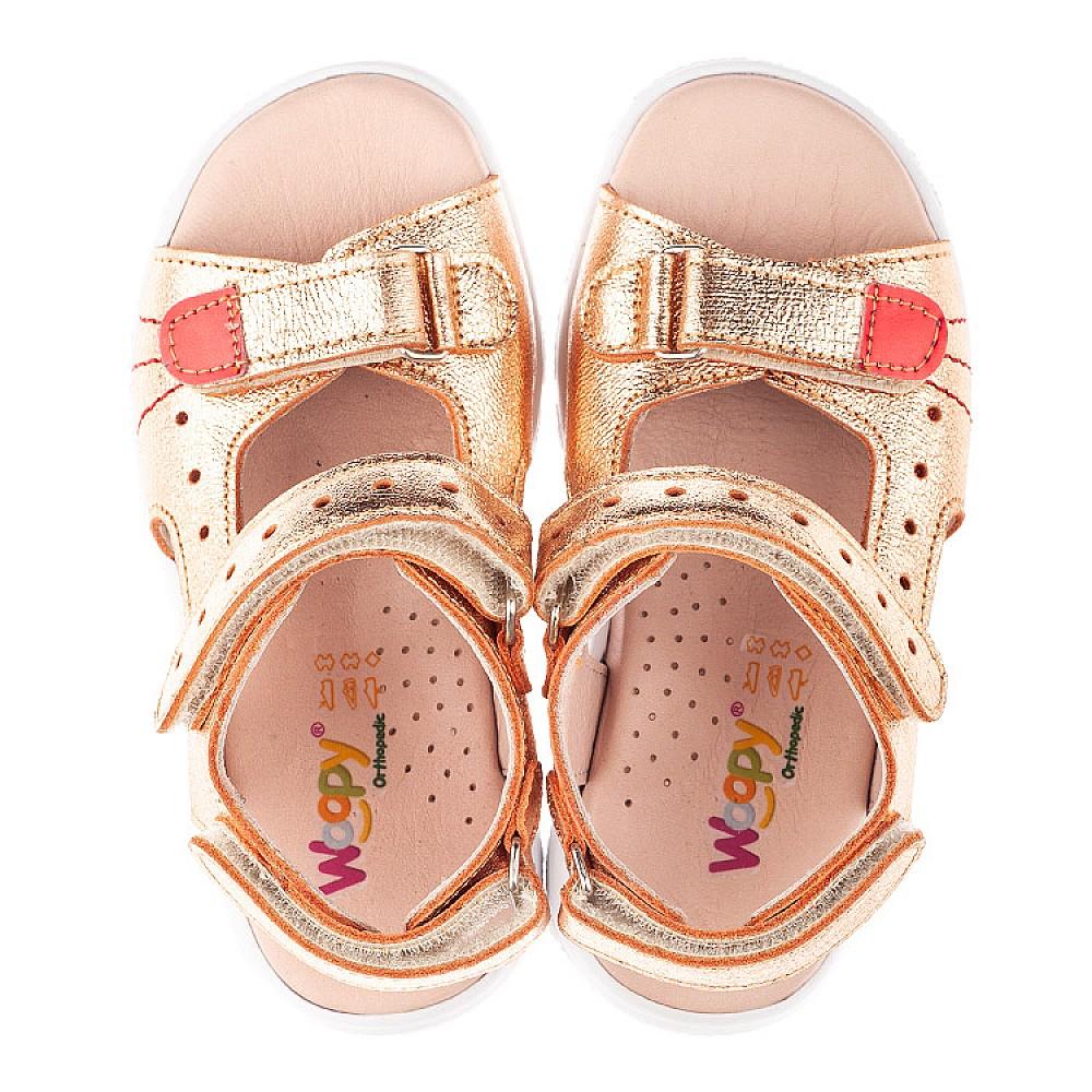 Детские босоножки Woopy Orthopedic бронзовые для девочек натуральная кожа размер 21-30 (4158) Фото 5
