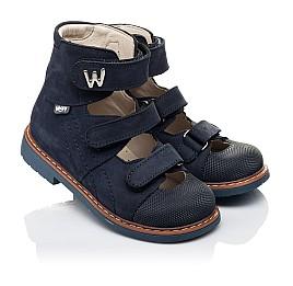 Детские ортопедические туфли (с высоким берцем) Woopy Orthopedic синие для мальчиков натуральный нубук размер 26-30 (4159) Фото 1