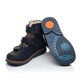 Детские ортопедичні туфлі (з високим берцем) Woopy Orthopedic синие для мальчиков натуральный нубук размер 27-36 (4159) Фото 2