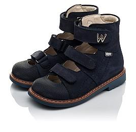 Детские ортопедичні туфлі (з високим берцем) Woopy Orthopedic синие для мальчиков натуральный нубук размер 27-36 (4159) Фото 3