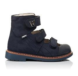 Детские ортопедические туфли (с высоким берцем) Woopy Orthopedic синие для мальчиков натуральный нубук размер 26-30 (4159) Фото 4