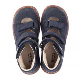 Детские ортопедические туфли (с высоким берцем) Woopy Orthopedic синие для мальчиков натуральный нубук размер 26-30 (4159) Фото 5