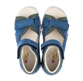 Детские босоножки Woopy Orthopedic синие для мальчиков натуральный нубук размер 21-22 (4168) Фото 5