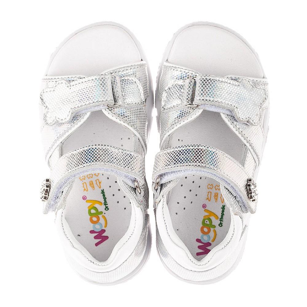Детские босоножки Woopy Orthopedic серебряные для девочек натуральная кожа размер 21-26 (4174) Фото 5