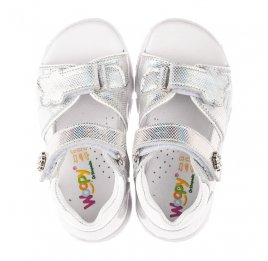 Детские босоножки Woopy Orthopedic серебряные для девочек натуральная кожа размер 21-22 (4174) Фото 5