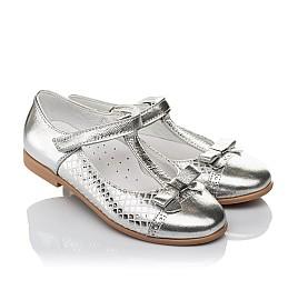 Детские туфли Woopy Orthopedic серебряные для девочек натуральная кожа размер 30-34 (4178) Фото 1