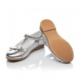 Детские туфли Woopy Orthopedic серебряные для девочек натуральная кожа размер 28-34 (4178) Фото 2