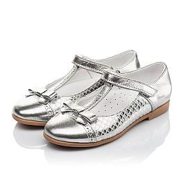 Детские туфли Woopy Orthopedic серебряные для девочек натуральная кожа размер 30-34 (4178) Фото 3