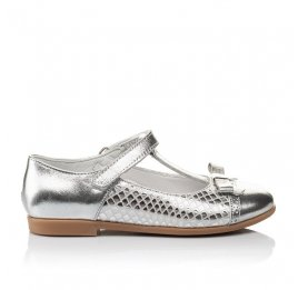 Детские туфли Woopy Orthopedic серебряные для девочек натуральная кожа размер 30-34 (4178) Фото 4