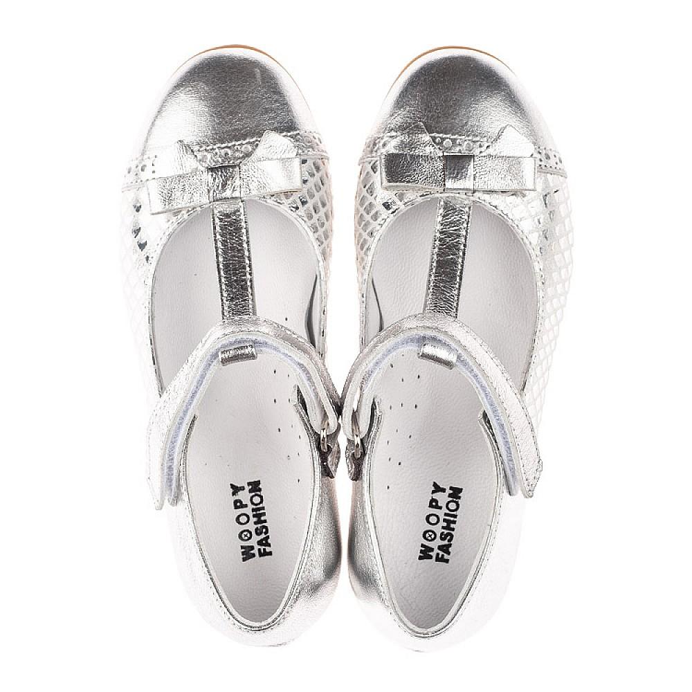 Детские туфли Woopy Orthopedic серебряные для девочек натуральная кожа размер 28-34 (4178) Фото 5