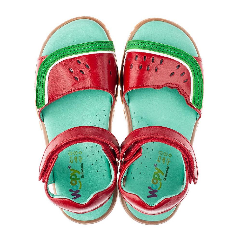 Детские босоножки Woopy Orthopedic красные для девочек натуральная кожа размер 27-33 (4185) Фото 5