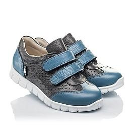 Детские кроссовки Woopy Orthopedic серые, синие для мальчиков натуральная кожа размер 20-33 (4190) Фото 1