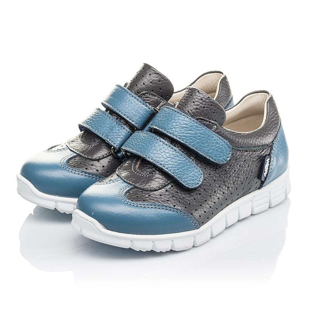 Детские кроссовки Woopy Orthopedic серые, синие для мальчиков натуральная кожа размер 20-33 (4190) Фото 3
