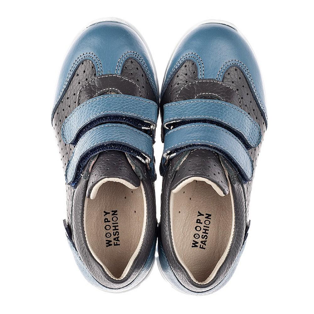 Детские кроссовки Woopy Orthopedic серые, синие для мальчиков натуральная кожа размер 20-33 (4190) Фото 5