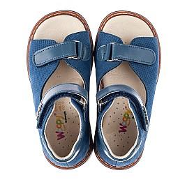 Детские босоножки Woopy Orthopedic голубые для мальчиков натуральный нубук размер 18-20 (4195) Фото 5