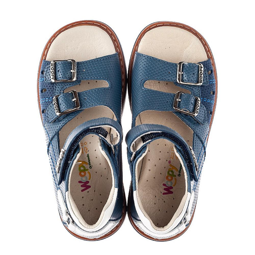 Детские босоножки Woopy Orthopedic голубые для мальчиков натуральная кожа размер 26-36 (4197) Фото 5