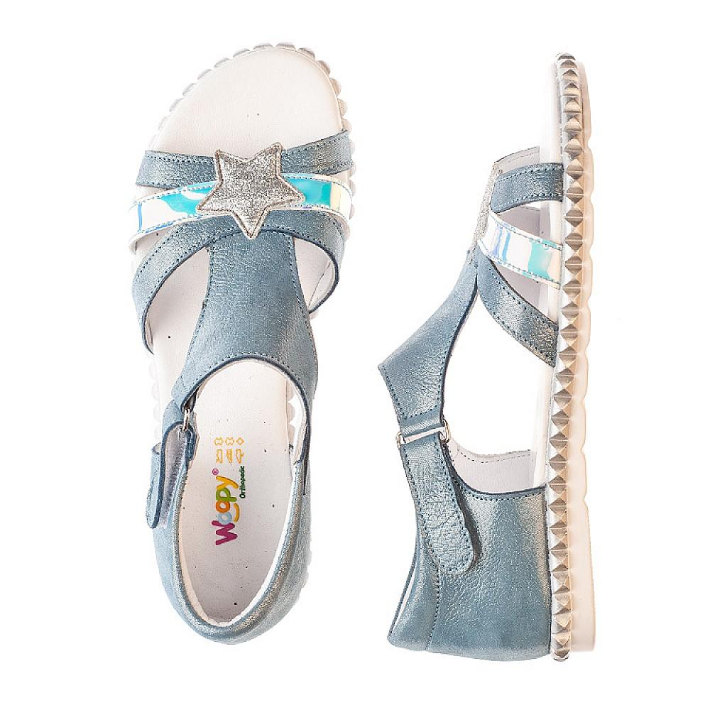 Детские босоножки Woopy Orthopedic голубые для девочек натуральный нубук размер 29-38 (4203) Фото 6