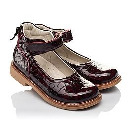 Детские туфли Woopy Orthopedic бордовые для девочек натуральная лаковая кожа размер 29-35 (4206) Фото 1