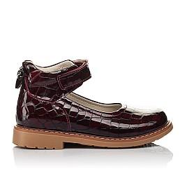 Детские туфли Woopy Orthopedic бордовые для девочек натуральная лаковая кожа размер 29-35 (4206) Фото 4