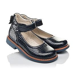 Детские туфли Woopy Orthopedic синие для девочек натуральная лаковая кожа размер 29-35 (4207) Фото 1