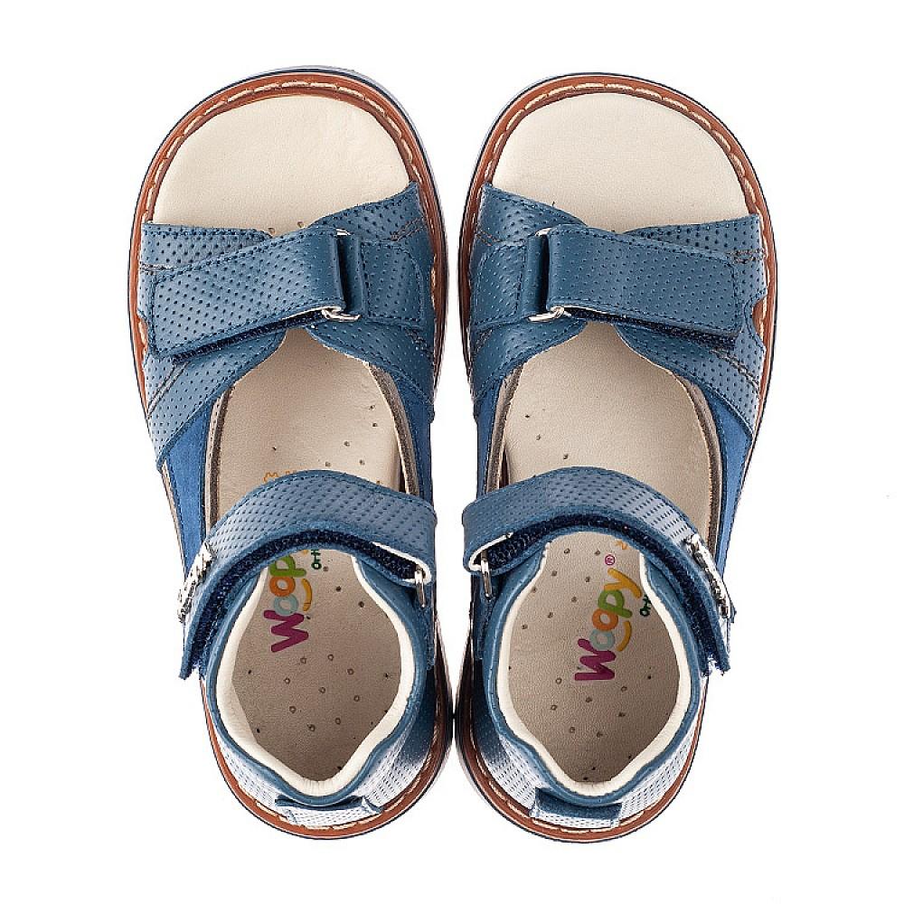 Детские босоножки Woopy Orthopedic голубые для мальчиков натуральная кожа размер 19-36 (4210) Фото 5
