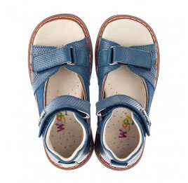 Детские босоножки Woopy Orthopedic голубые для мальчиков натуральная кожа размер 20-35 (4210) Фото 5