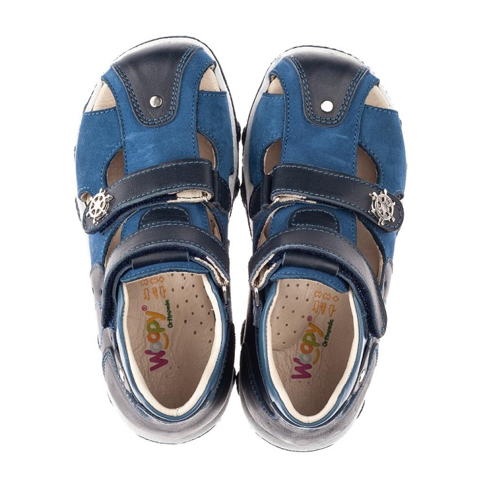Детские закрытые босоножки Woopy Orthopedic синие для мальчиков натуральный нубук размер 21-33 (4214) Фото 5
