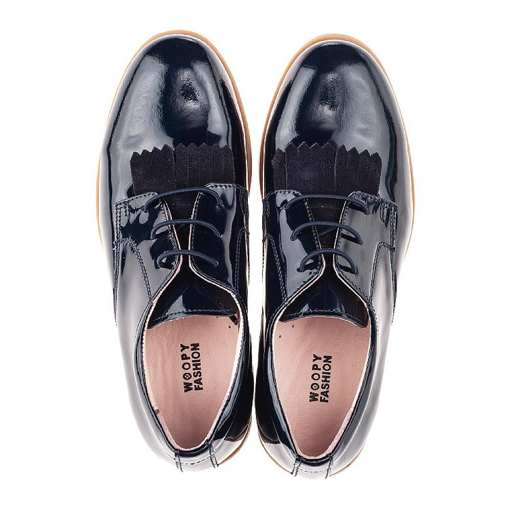 Детские туфли (шнурок резинка) Woopy Orthopedic синие для девочек натуральная лаковая кожа размер 33-40 (4217) Фото 4